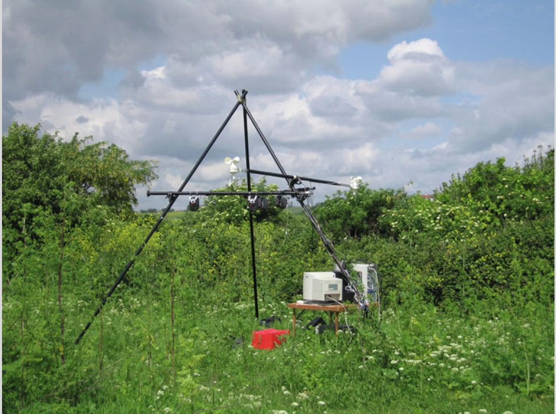 Photograph of the Ambient Weather Sound Machine project on Two Tree Island, Essex.