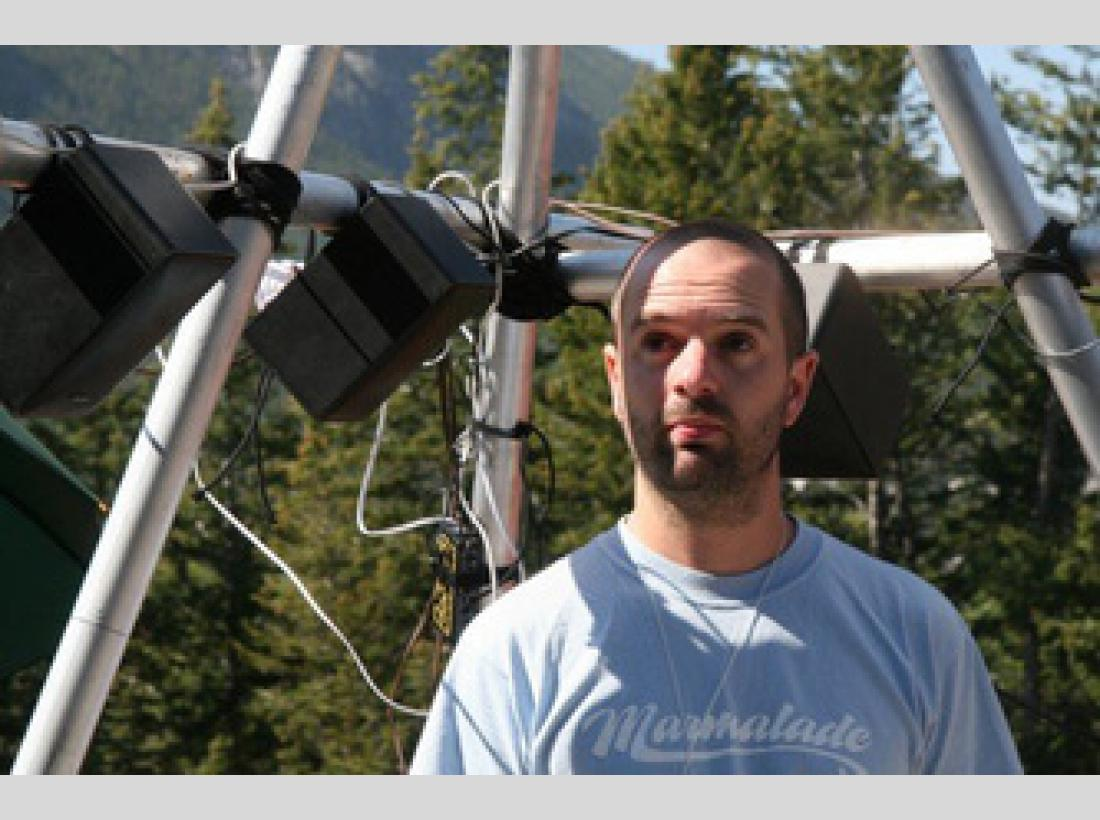 Photograph of artist Stuart Bowditch the Ambient Weather Sound Machine project in Banff, Canada.